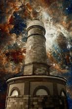 Lighthouse And The Tarantula Nebula Background (Elements Of This