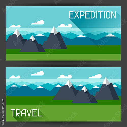 Tuinposter Turkoois Banners with illustration of mountain landscape in flat style
