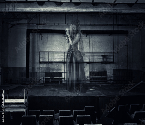 Photo  ghost of actress on stage of old theater