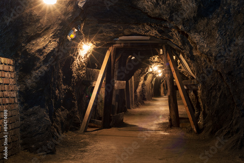 Fotografia, Obraz  Long tunnel through gypsum mine