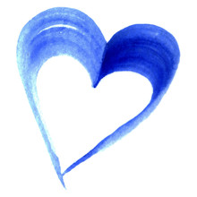 Watercolor Blue Cyan Heart Vector Symbol Isolated