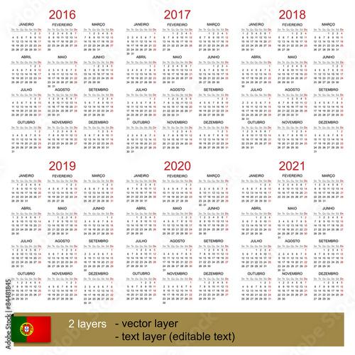 Calendar 2016 2021 Stock Vector | Adobe Stock