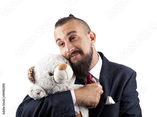 Hombre de negocios añorando su niñez