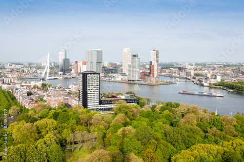 Staande foto Rotterdam ROTTERDAM, NETHERLANDS: Cityscape from the Euromast tower