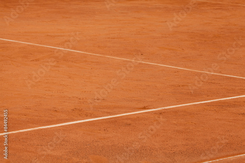 Photo  Tennis clay court with details of baselines.