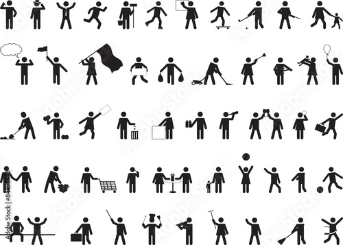Photo Common pictogram people activities