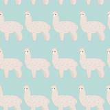 Cute furry alpaca. Vector seamless pattern, eps10. - 84500087