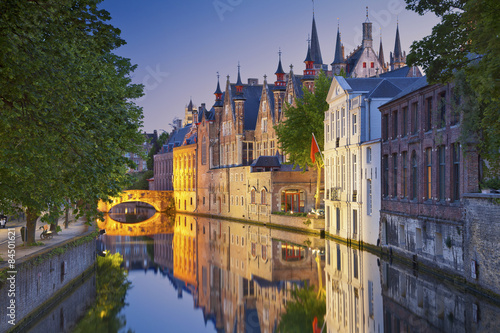 Bruges. Image of Bruges, Belgium during twilight blue hour.
