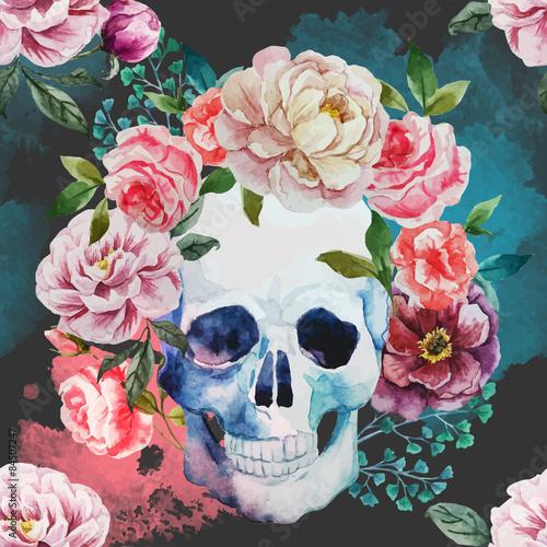 Printed kitchen splashbacks Watercolor skull Watercolor skull