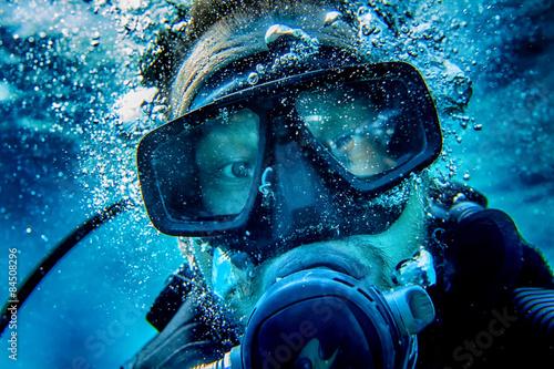 fototapeta na lodówkę Nurek selfy