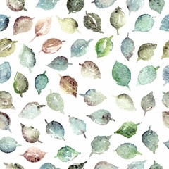 FototapetaSeamless pattern with leaves. Birthday floral card. Floral watercolor floral background.