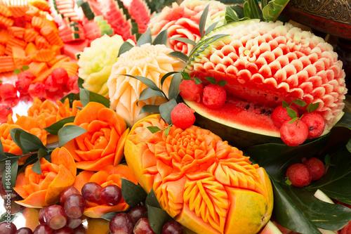 Valokuva  fruit carved shape beautiful flowers