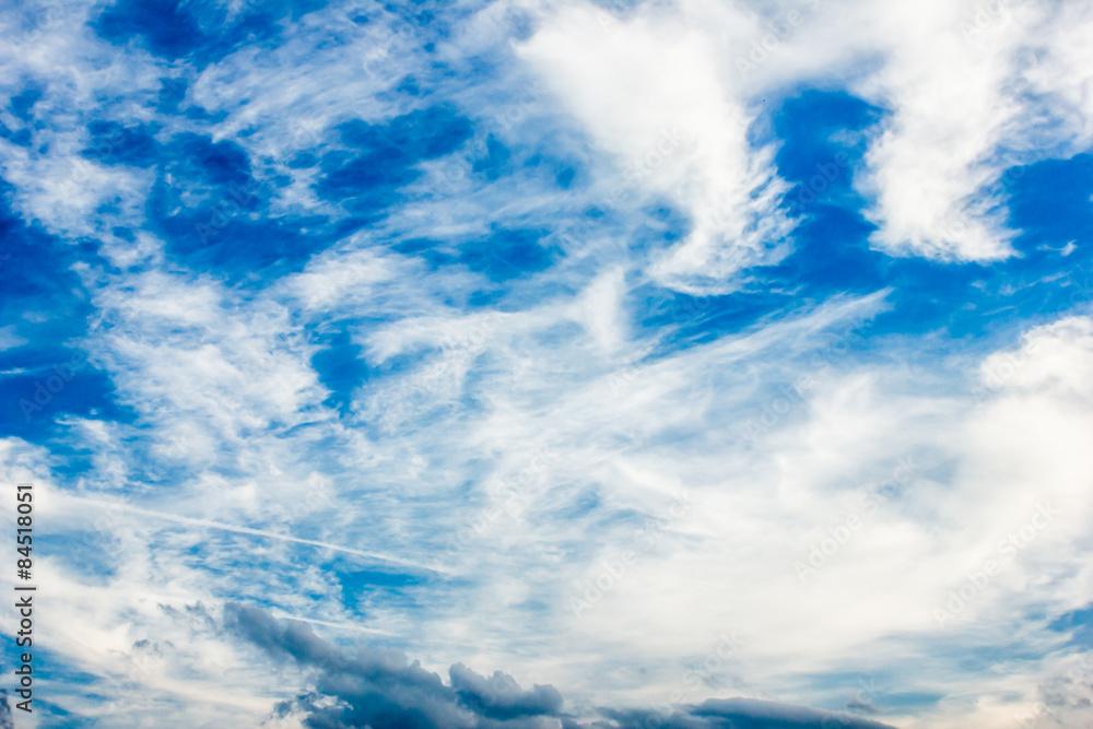 Blue cloudy sky texture.