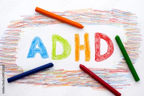 ADHD written on sheet of paper Wallpaper Mural