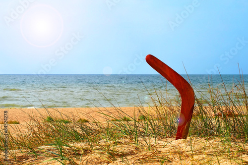 Photo  Landscape with boomerang on overgrown sandy beach.