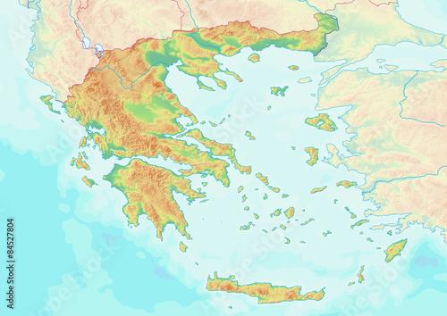 Karte von Griechenland ohne Beschriftung Tablou Canvas