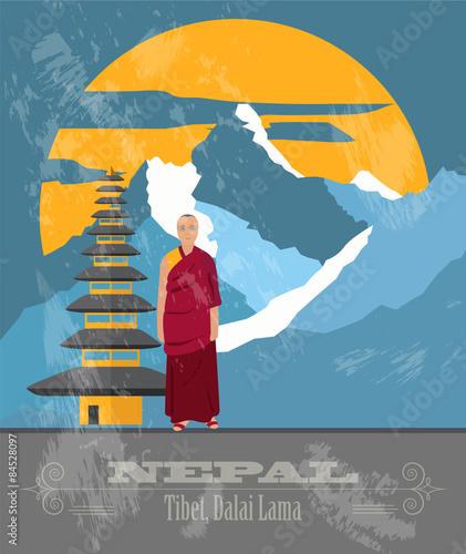 Fotografia Nepal landmarks. Retro styled image
