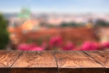 Empty Wooden Table With Prague On Background