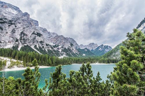 Fotografie, Obraz  vista lago di Braies