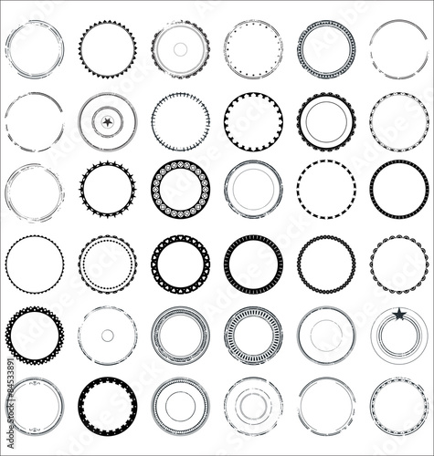 Photo  Collection of round and circular decorative patterns