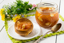 Yorkshire Pudding With Apple Jam And Tea For Breakfast