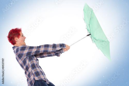 Valokuva  Regenschirm Kampf im Sturm