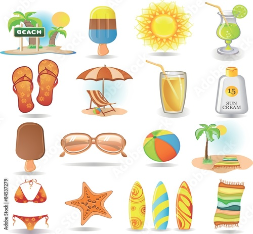 0b9c990447 Bright summer icons - Buy this stock vector and explore similar ...