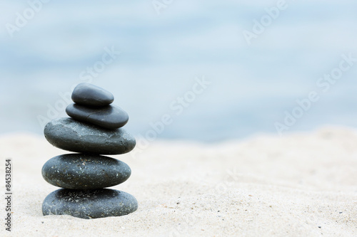 Aluminium Prints Stones in Sand Zen stones balance spa on beach