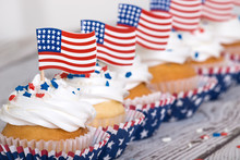 Row Of Patriotic Cupcakes With...