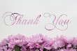 Thank you card Flowers on white background