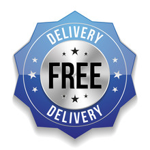 Blue Free Delivery  Button On White Background