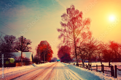 Tuinposter Zwavel geel Rural winter landscape