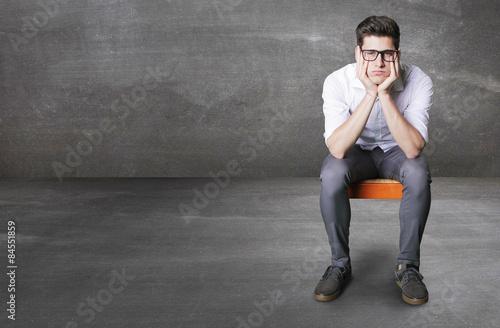 Fotografie, Obraz  bored worker on little chair
