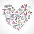 Love icons hand drawn style. Love symbols and objects in heart shape.
