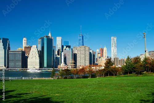 Lower Manhattan skyline view from Brooklyn Poster