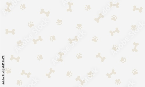 fototapeta na ścianę Seamless background with bone and footprint dog, background, wallpaper, graphic design, illustration