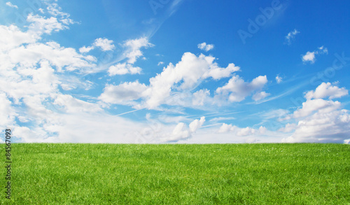 Ingelijste posters Platteland Green field and blue sky