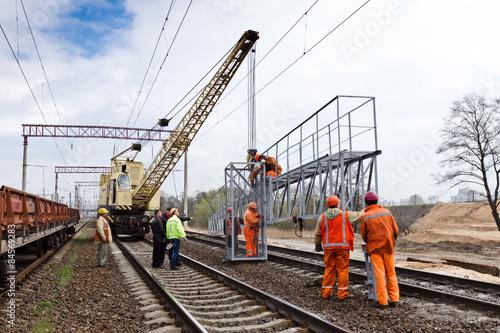 Foto auf Leinwand Eisenbahnschienen Railway construction in Kiev, Ukraine