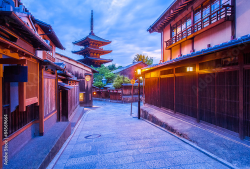 Garden Poster Kyoto Japanese pagoda and old house in Kyoto at twilight