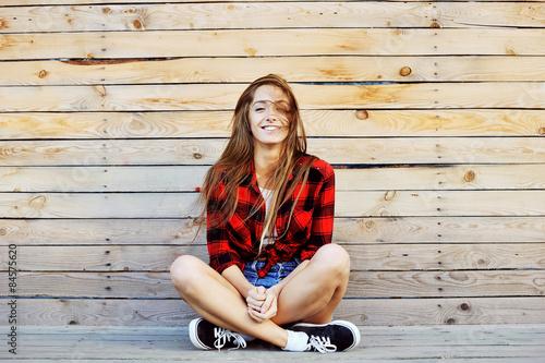 Fotografie, Obraz  Young pretty smiling girl outdoor fashion portrait