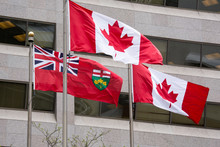 Flag Of Ontario Along Two Cana...