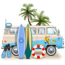 Vector Surfing Weekend Concept