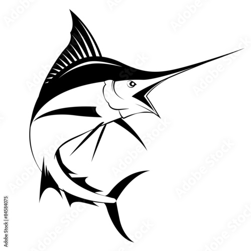 marlin fish, vector Wallpaper Mural