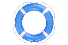Single Blue Lifebuoy Closeup