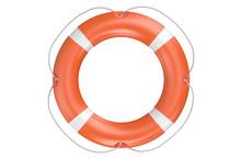 Single Orange Lifebuoy Closeup