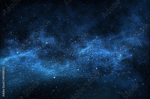 Αφίσα  Dark night sky with sparkling stars and planets,illustration