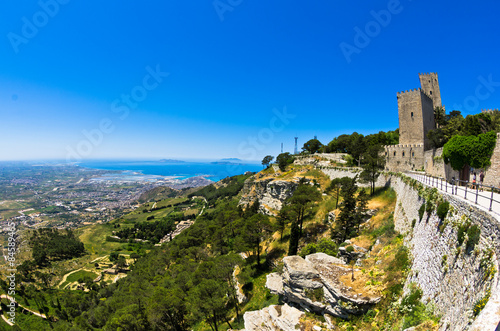 Fotografie, Obraz  Promenade and viewpoint to famous Egadi islands, Erice, Sicily