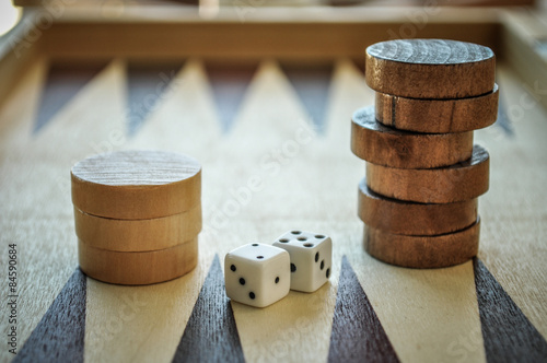 Photo Backgammon and dices