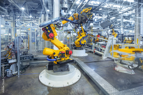 Fototapeta  robots in a car plant