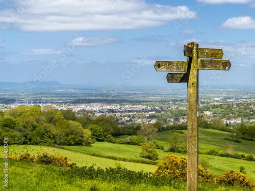 Fotografie, Obraz Cotswold way panorama across green fields